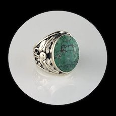 Navajo Sterling 7 Turquoise Men's Ring Size 9