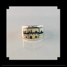 Navajo Pueblo Design Inlay Ring