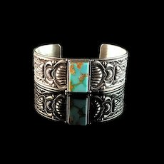 Navajo Sterling and Pilot Mountain Bracelet by J O White