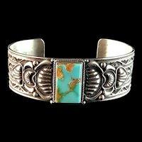 Navajo Sterling and Pilot Mountain Bracelet by J O White