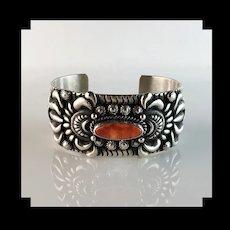 Sterling and Spiny Oyster Bracelet by Navajo Darryl Becenti