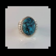 Sterling and Turquoise Ring by Navajo Artist Silver Ray