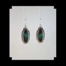 Navajo Sterling & Boulder Turquoise Earrings