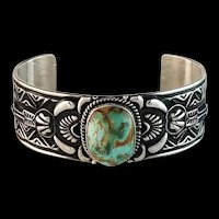 Navajo Sterling and Royston Turquoise Bracelet by J. O. White