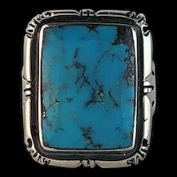 Navajo Sterling and Kingman Turquoise Ring  Size 8 1/4