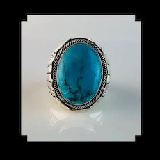 Sterling and Turquoise Mens Ring by Navajo Artist Alice Gabby