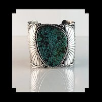 Ex Large Sterling and Turquoise Cuff by Navajo Tillie Jon