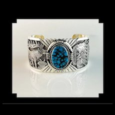 Outstanding Sterling and Turquoise Bracelet by Navajo Artist Freddy Charley