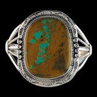 Navajo Sterling and Boulder Turquoise Bracelet by Richard Kee