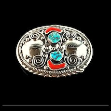 Navajo Sterling Turquoise and Coral Belt Buckle