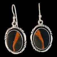 Navajo Sterling and Bumblebee Jasper Earrings