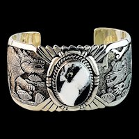Sterling and White Buffalo Bracelet by Navajo Artist Freddy Charley