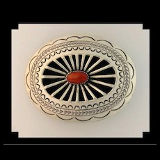Sterling and Coral Belt Buckle by Carson Blackgoat