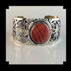 Sterling and Spiny Oyster Bracelet by Renowned Navajo Artist Freddy Charley