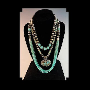 White Fox Creation: Amazonite and Navajo Pearl Necklace Set
