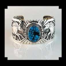 Sterling and Turquoise Bracelet by Navajo Artist Freddy Charley