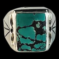 Navajo Sterling and Turquoise Unisex Ring