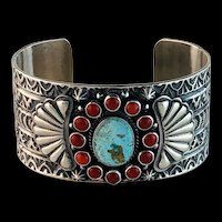 Navajo Turquoise and Coral Bracelet by Darrell Cadman