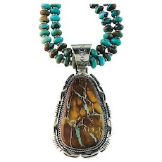 Turquoise Necklace with Boulder Turquoise Pendant by Navajo Ted Secatero