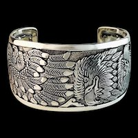 Navajo   Silver Overlay Bracelet by Freddy Charley