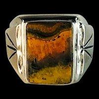 Navajo and Bumblebee Jasper Ring  Size 12 1/2