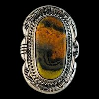 Navajo Sterling and Bumblebee Jasper Ring  Size 5 3/4
