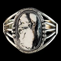 Sterling and White Buffalo Bracelet by Navajo Richard Kee