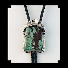 Sterling and Turquoise Bolo by Navajo Artist Ted Secatero