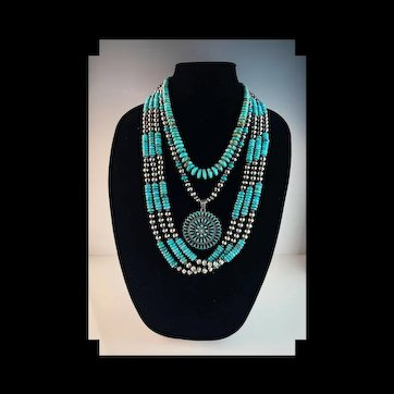 White Fox Creation: 3 Piece Sterling and Turquoise Necklace Set