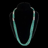 White Fox Creation: 10 Stand Turquoise and Sterling Necklace