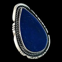 Extra Large Navajo Sterling and Lapis Lazuli Ring