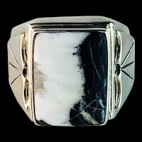 Sterling and White Buffalo Mens Ring by Navajo Terri Wood