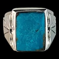 Navajo Sterling and Sleeping Beauty Turquoise Men's Ring Size 13