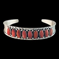 Sterling and Spiny Oyster Bracelet by Navajo Melissa Yazzie