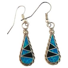 Native American Opalite and Onyx Inlay Earrings
