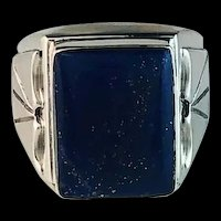 Navajo Sterling and Lapis Lazuli Mens Ring
