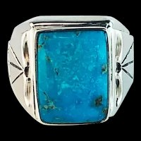 Navajo Sterling and  Turquoise Men's Ring Size 13