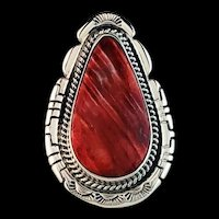 Large Sterling and Spiny Oyster Ring by Navajo Richard Kee