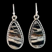 Sterling and White Buffalo Earrings by Navajo Terrri Wood