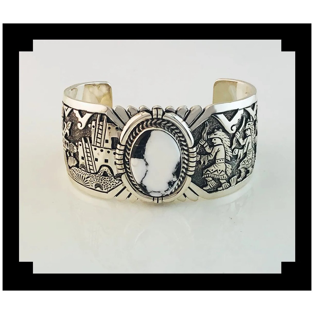 Sterling And White Buffalo Bracelet By
