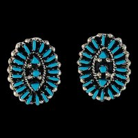 Sterling and Turquoise Needlepoint Post Earrings