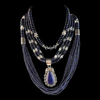 White Fox Creation: 3 Piece Sterling and Lapis Necklace Set
