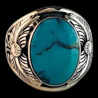 Navajo Sterling and Turquoise Mens Ring