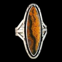 Sterling and Bumblebee Jasper Ring by Navajo Terri Wood