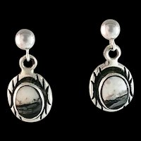 Navajo Sterling and White Buffalo Earrings