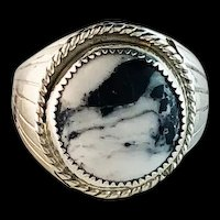 Sterling and White Buffalo Ring by Navajo Artist Silver Ray