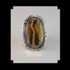 Sterling and Bumblebee Jasper Ring by Navajo Artist Richard Kee