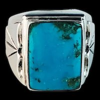 Navajo Sterling and Turquoise Men's Ring Size 11 1/2