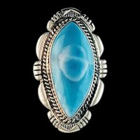 Large Sterling and Larimar Ring by Navajo Artist Anthony Kee