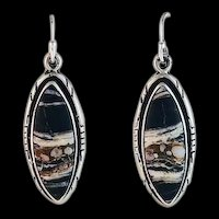 Navajo Sterling and White Buffalo Earrings
